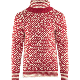 Devold Svalbard High Neck Trui, hindberry/offwhite